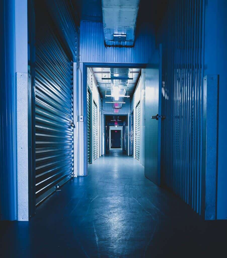 A dark storage hallway in storage