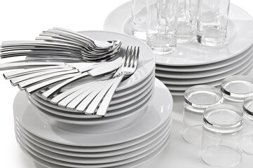 White dinnerware and silverware