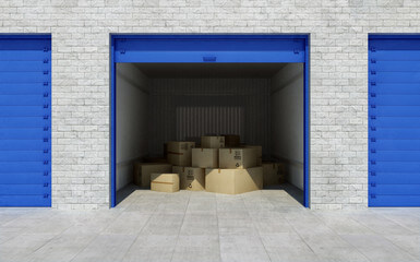 Many cardboard boxes in a garage with blue slide doors