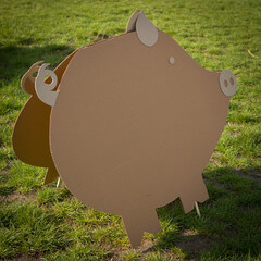 A pig object made of a cardboard
