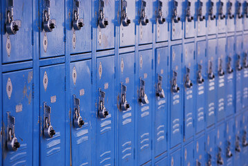 Many blue lockers