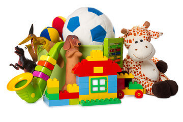 House, stuffed toys, dinosaurs and instrumental toys