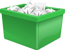 Some papers in green garbage box