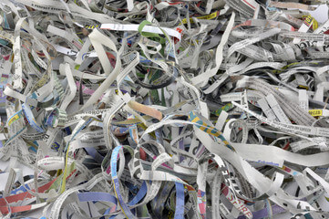 Close-up shredded newspapers