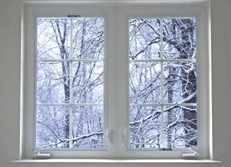 Cold outside with snow from the window