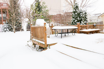 Winter patio covered with snow