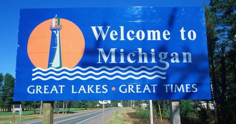 A signboard welcome to Michigan