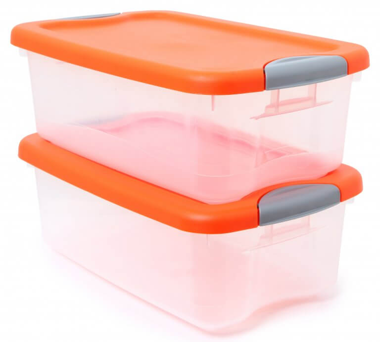 Plastic containers with orange rids