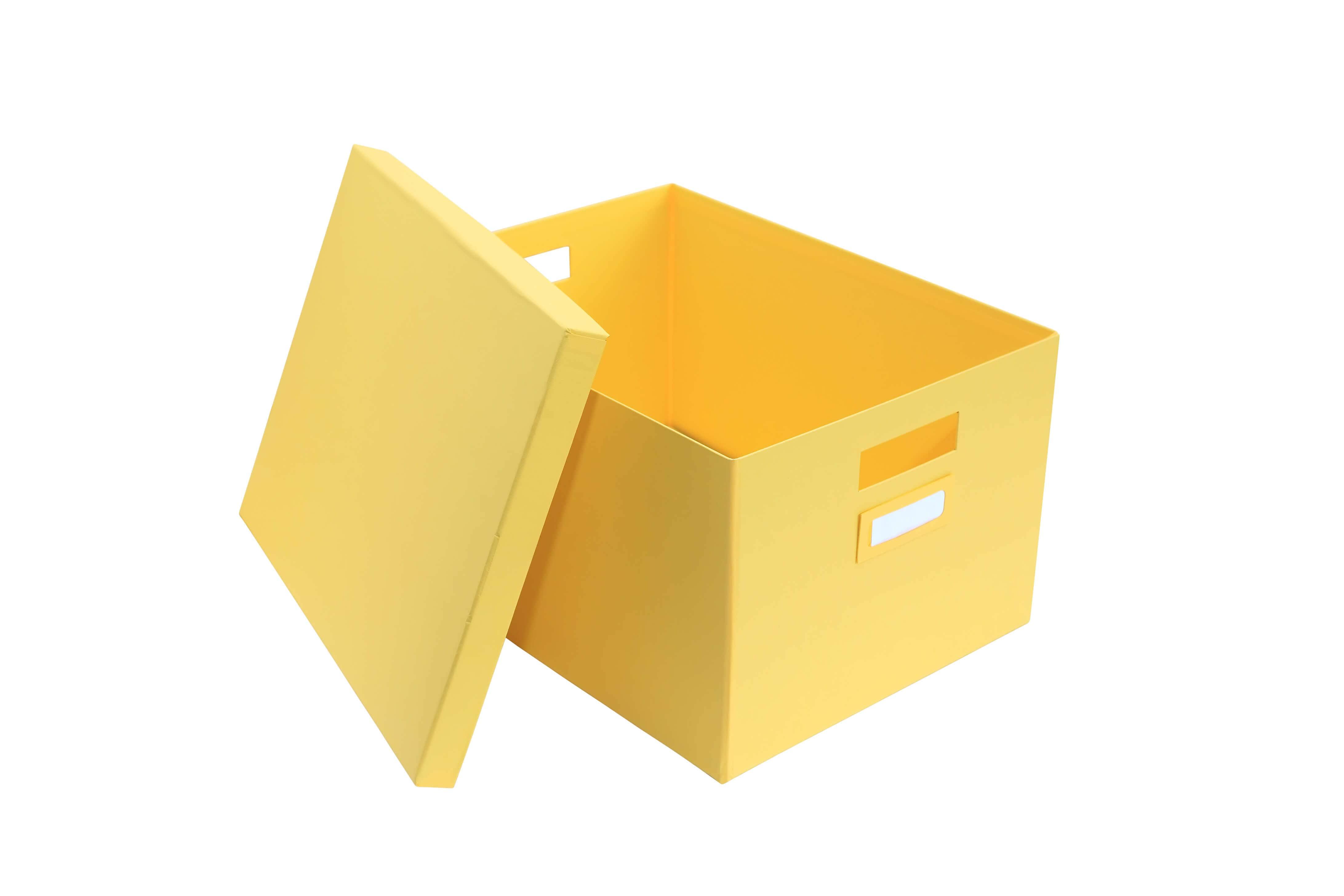 Yellow banker's cardboard box
