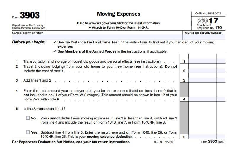 Form 3903 for moving expense