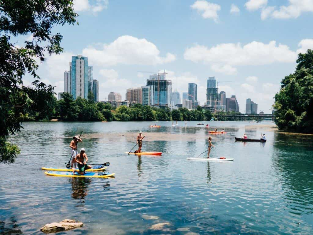 People kayaking in Austin