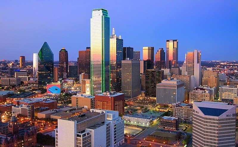 Dallas city in the evening