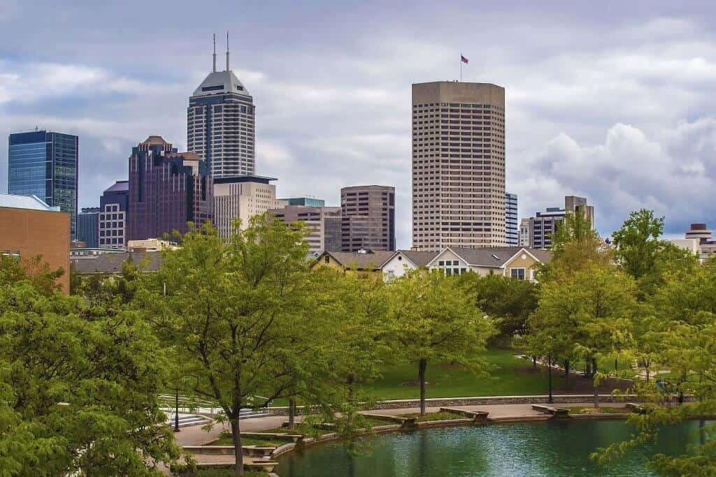 Indianapolis downtown from a park