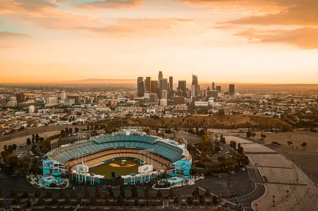 Los Angels baseball stadium and city