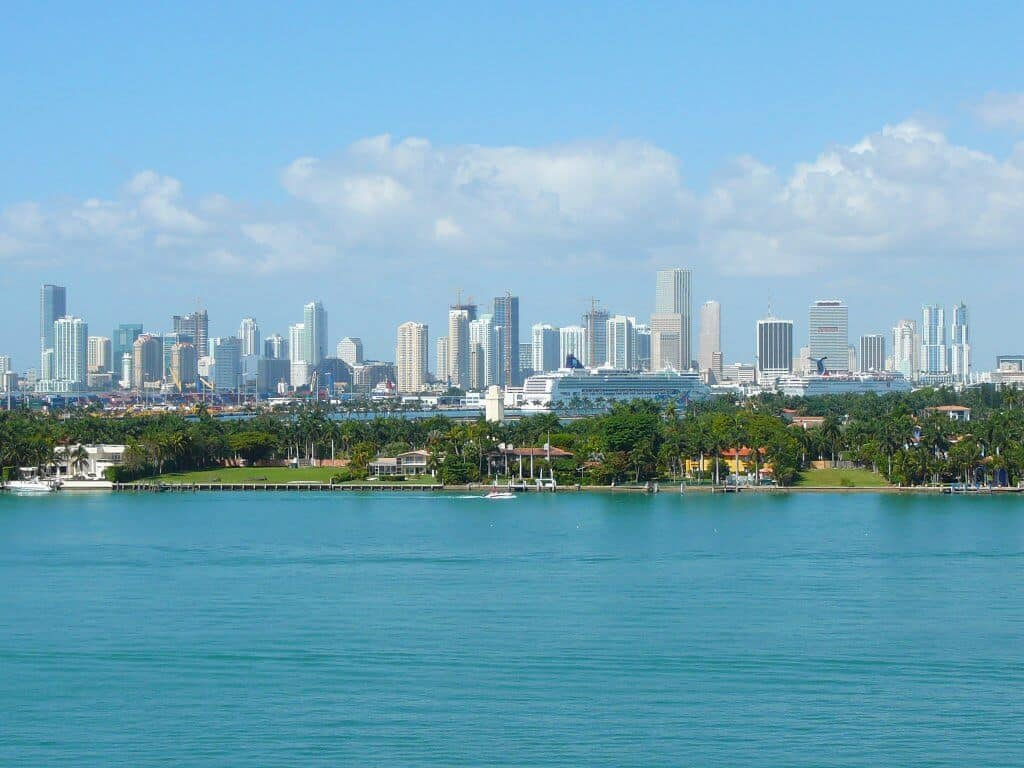 Miami city view from ocean