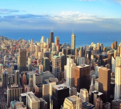 Chicago downtown aerial panorama view