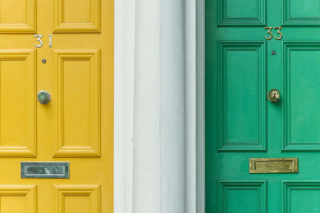 Colorful architectural doors in house