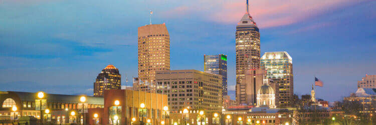 Night skyline and buildings in Indianapolis