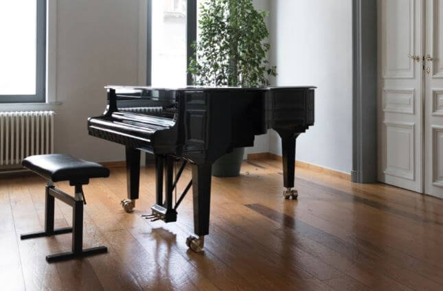 Large grand piano in elegant room