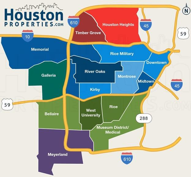 Houston city maps by neighborhoods