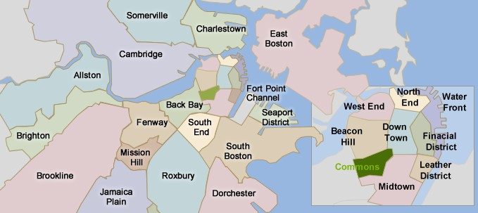 Boston neighborhoods map