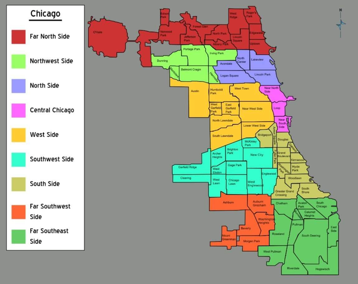 Chicago map by the neighborhoods