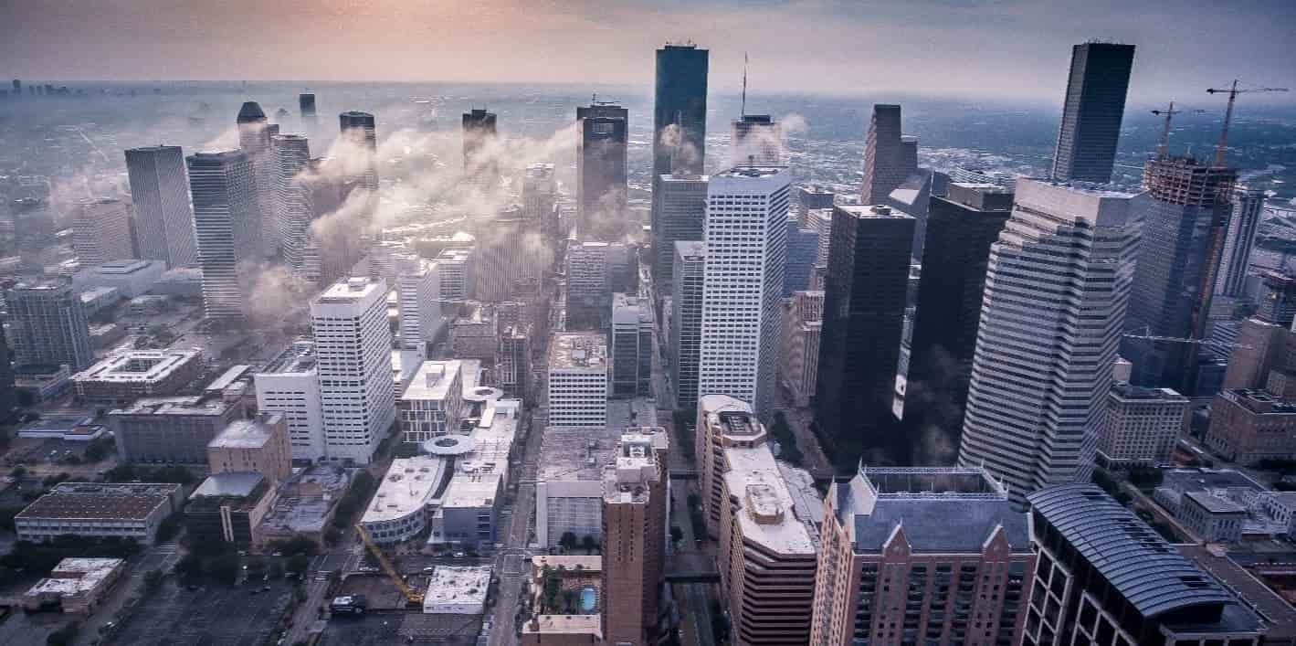 Foggy Houston downtown