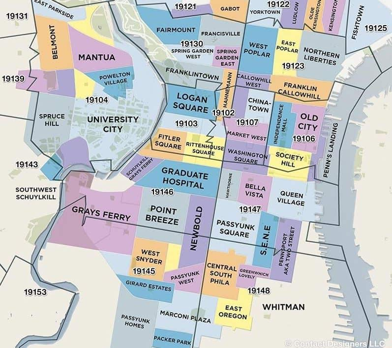 Best neighborhoods map in Philadelphia