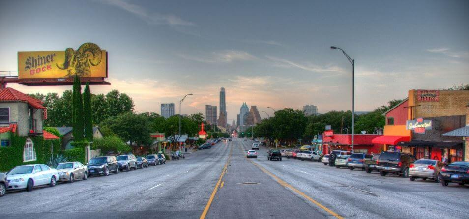 South Congress Austin is just south of Lady Bird Lake
