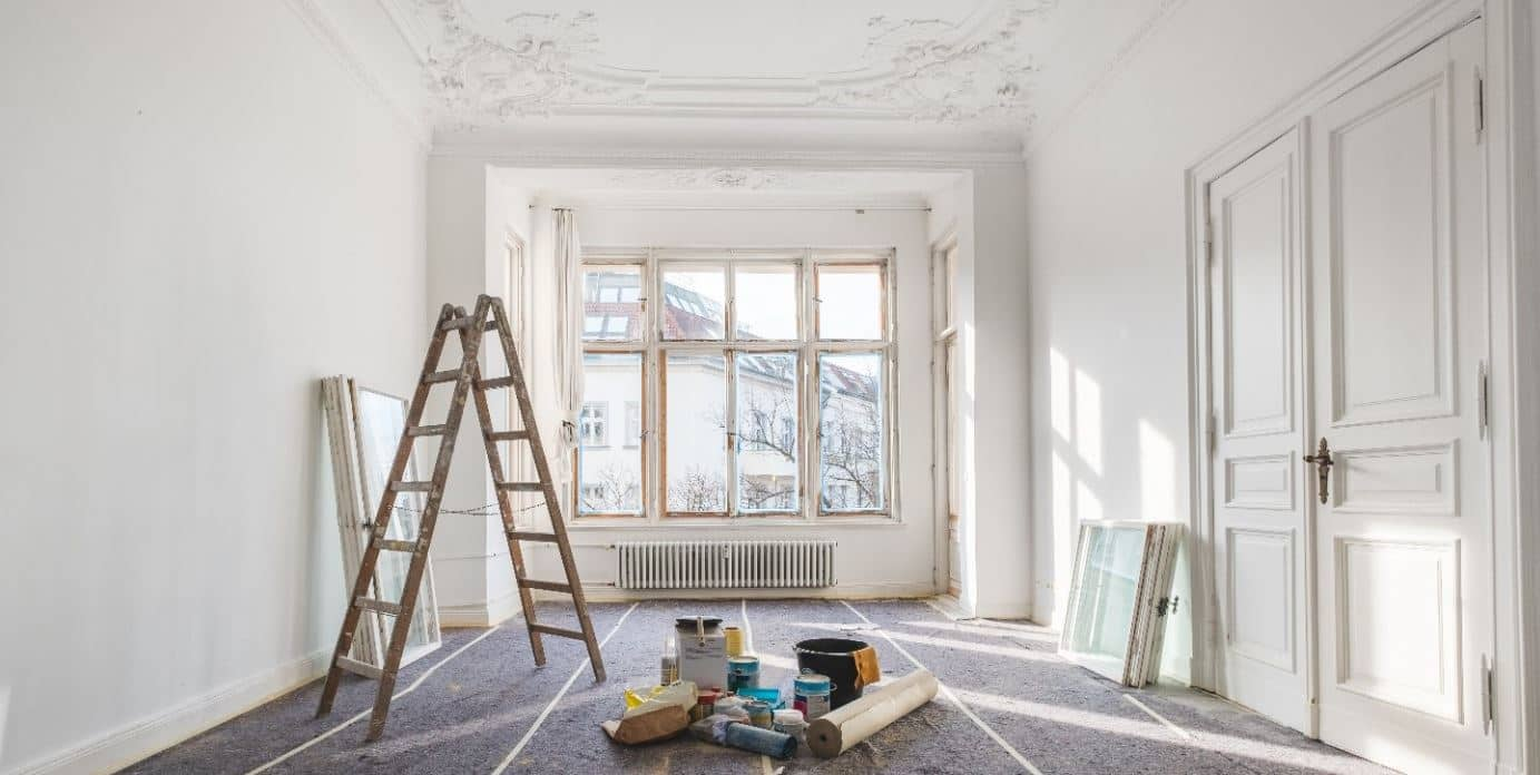 Apartment being painted in white