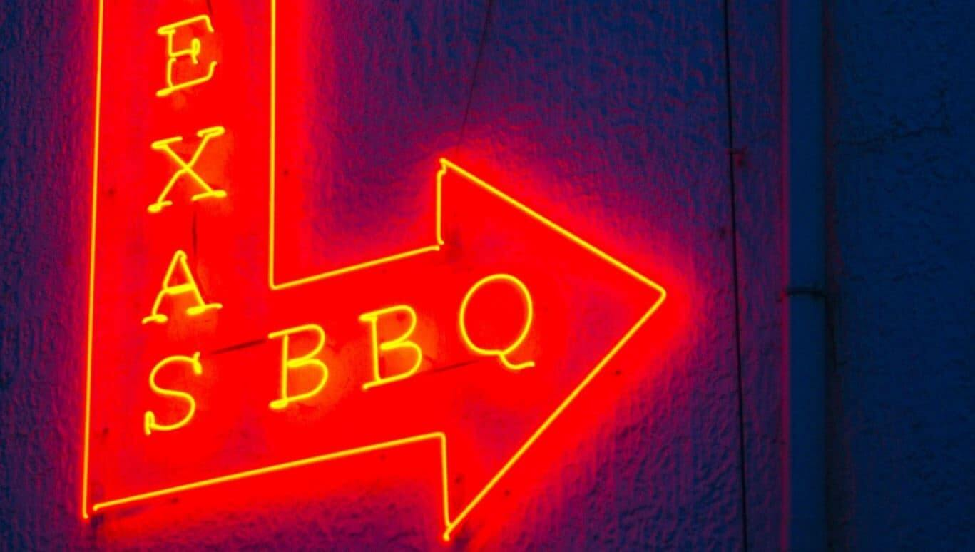 Red arrow to Texas barbecue