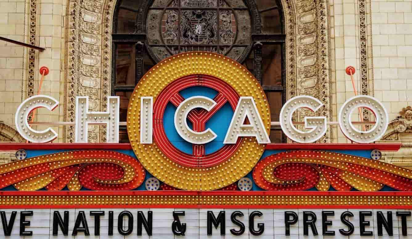 Chicago Theatre outside signboard