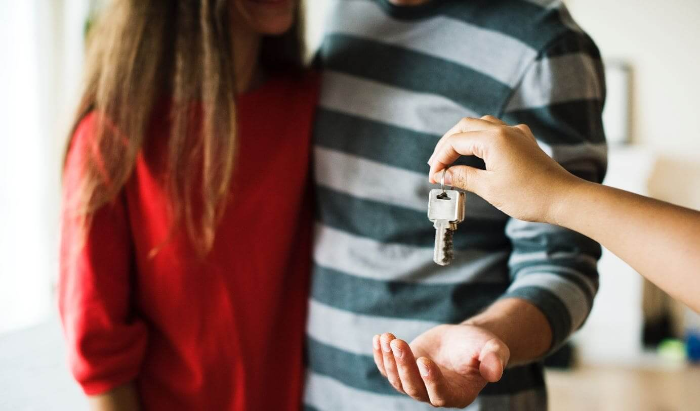 Couple gets a key in hands