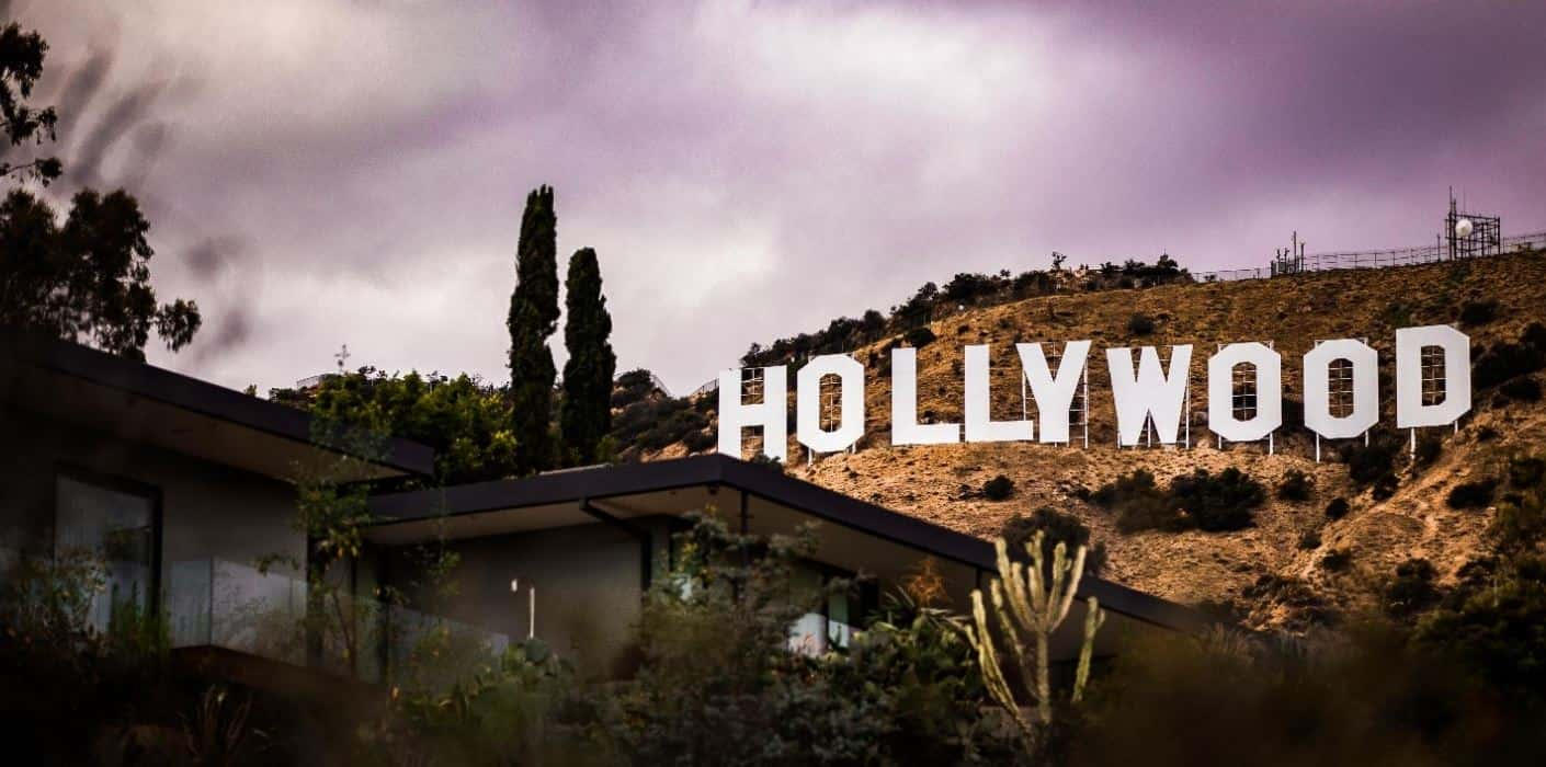 Hollywood signboard in a dark day