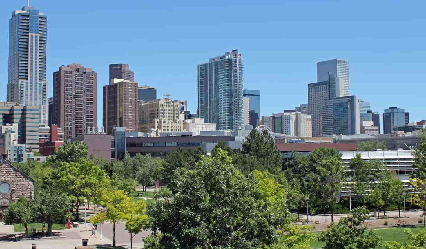 Denver downtown view from a park