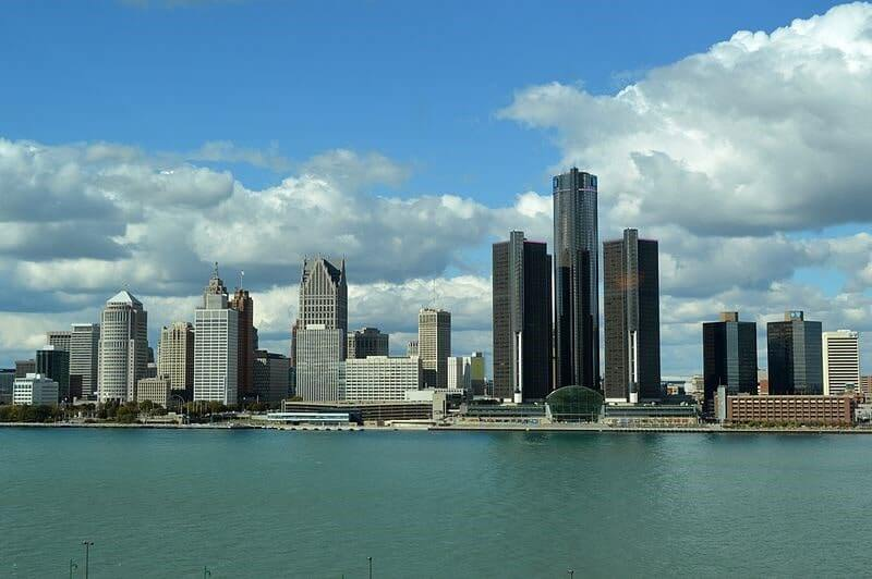 Detroit city view across from the river