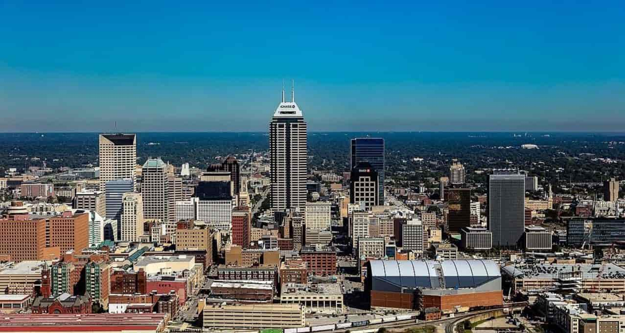 Indianapolis city view from the sky
