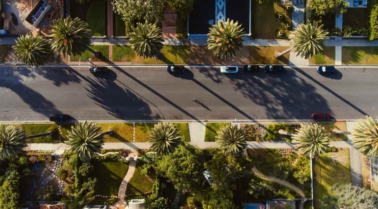 LA street in a luxury neighborhood