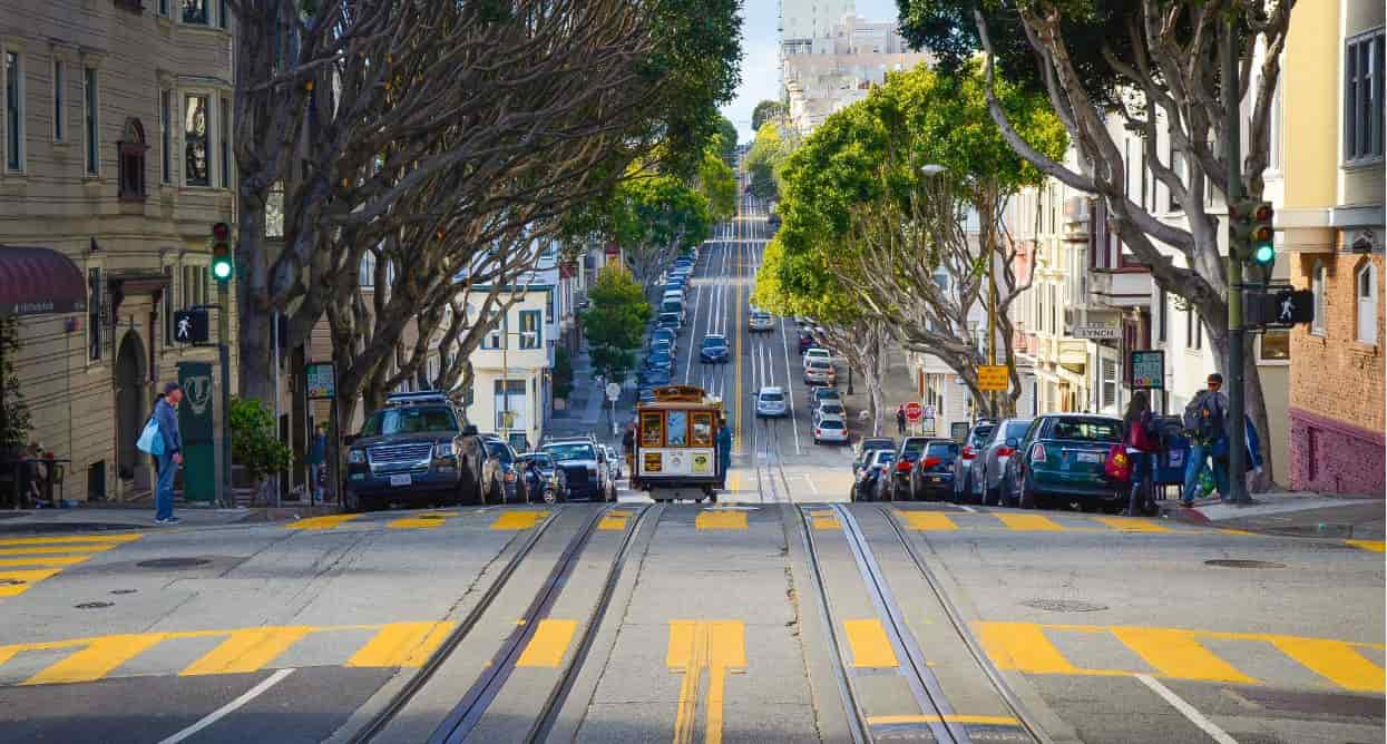 San Francisco street and tram
