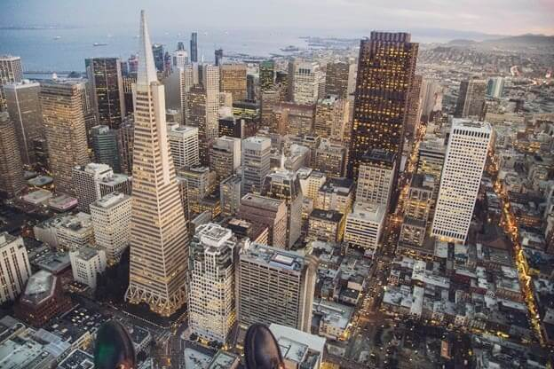 Sky view of downtown San Francisco