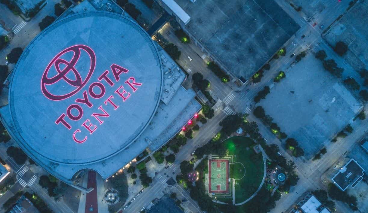 Toyota Center sky view in Houston
