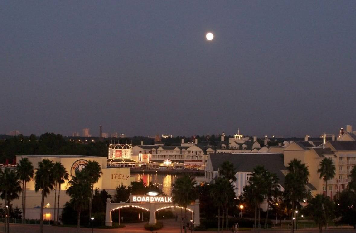 Orlando at night with full moon