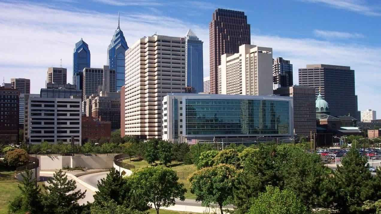 Downtown Philadelphia with skyscrapers