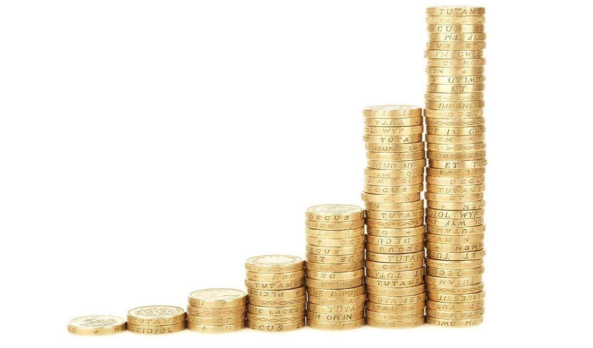 Piled golden coins