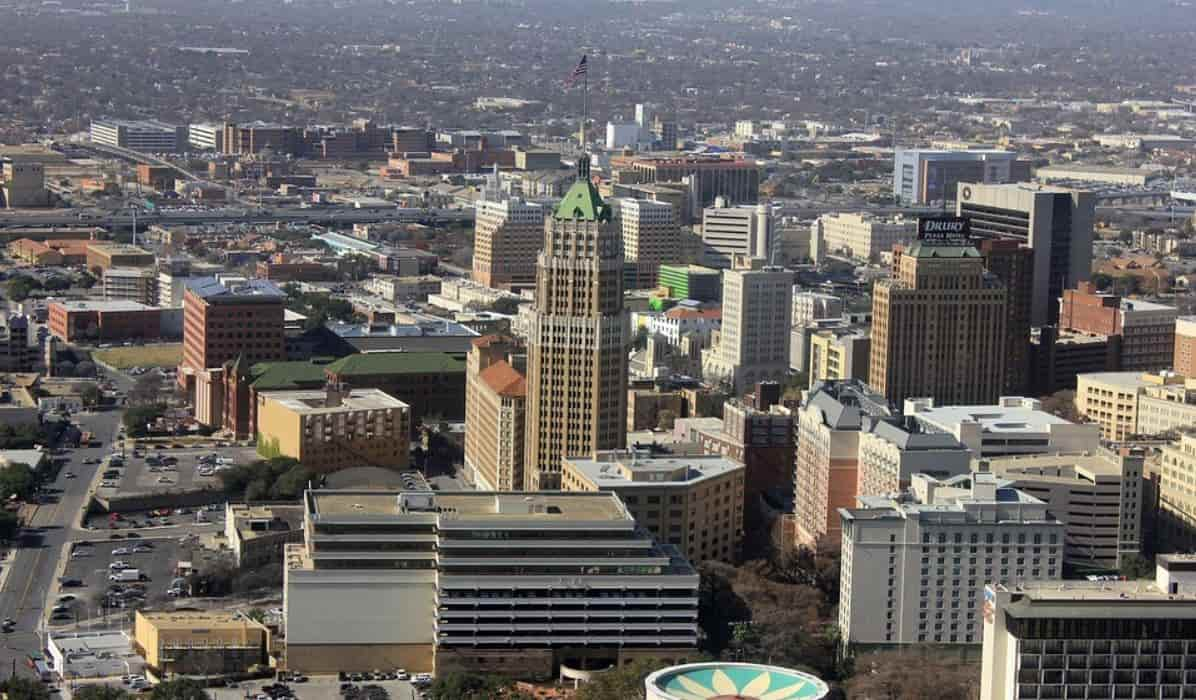 San Antonio skyline taken from the sky