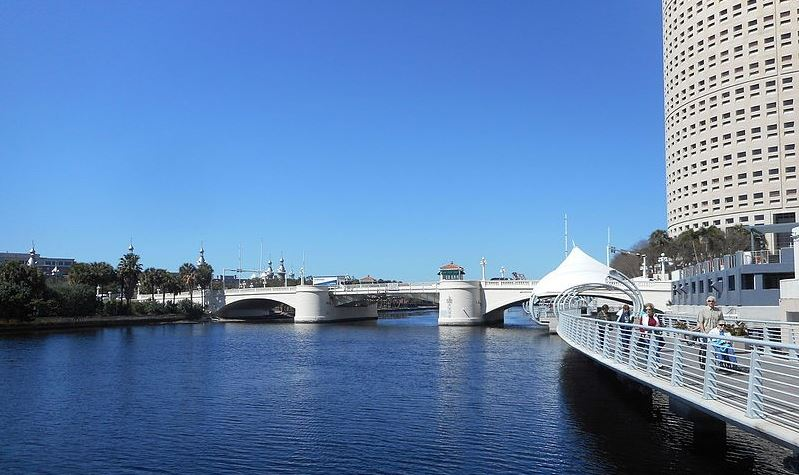 Tampa bridge at the ocean