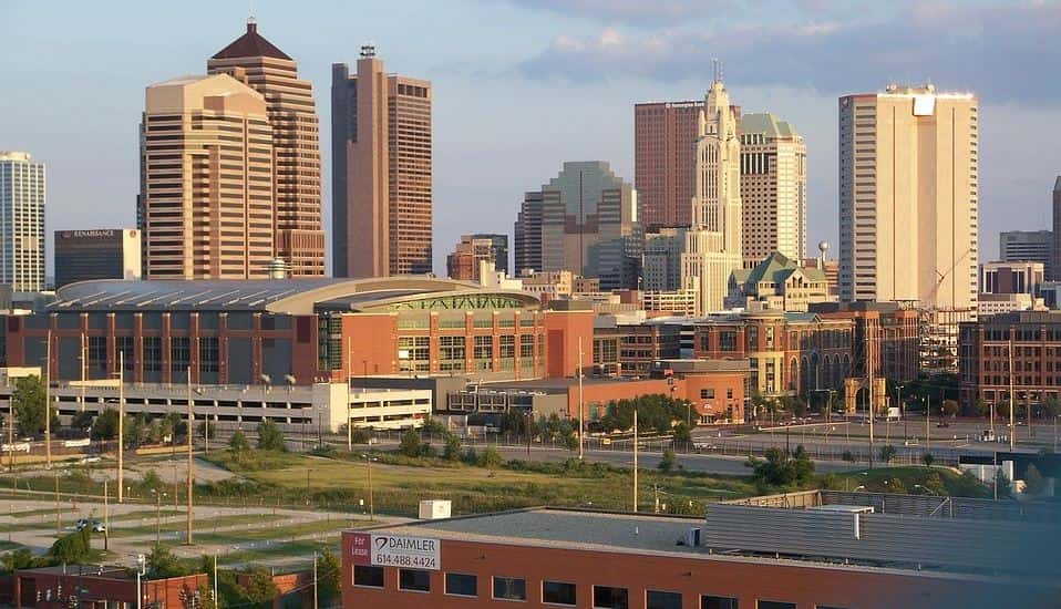 Downtown Columbus in the evening