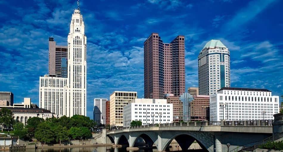 Downtown Columbus under bluebirds