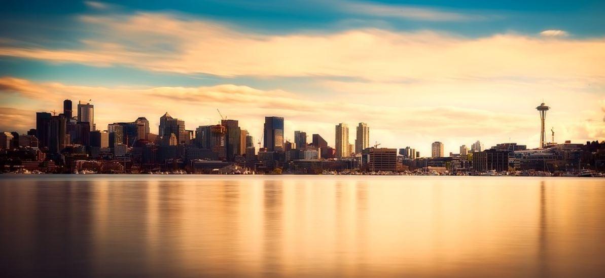 Seattle dusk view across from ocean