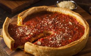 Lou Malnati's deep dish pizza with cheese on top